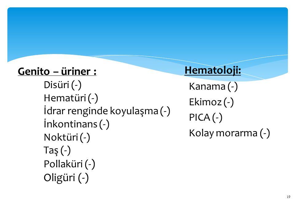 19 Genito – üriner : Disüri (-) Hematüri (-) İdrar renginde koyulaşma (-) İnkontinans (-) Noktüri (-) Taş (-) Pollaküri (- ) Oligüri (-) Hematoloji: Kanama (-) Ekimoz (-) PICA (-) Kolay morarma (-)