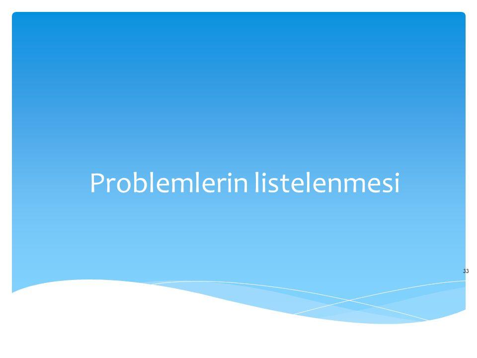 Problemlerin listelenmesi 33