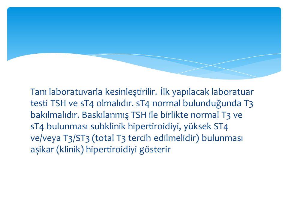Tanı laboratuvarla kesinleştirilir. İlk yapılacak laboratuar testi TSH ve sT4 olmalıdır. sT4 normal bulunduğunda T3 bakılmalıdır. Baskılanmış TSH ile