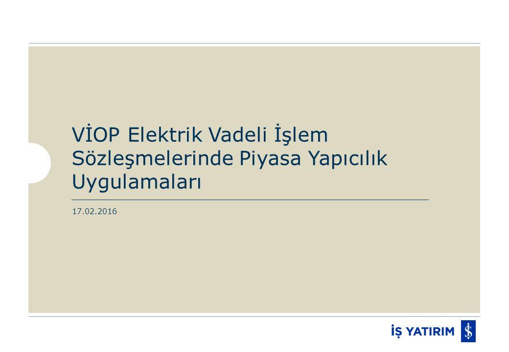 VİOP Elektrik Vadeli İşlem Sözleşmelerinde Piyasa Yapıcılık Uygulamaları 17.02.2016