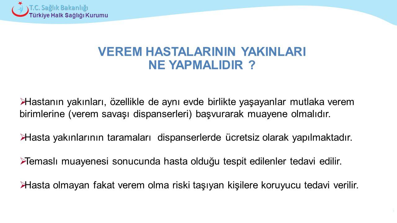 Çocuk ve Ergen Sağlığı Daire Başkanlığı Türkiye Halk Sağlığı Kurumu T.C. Sağlık Bakanlığı VEREM HASTALARININ YAKINLARI NE YAPMALIDIR ?  Hastanın yakı