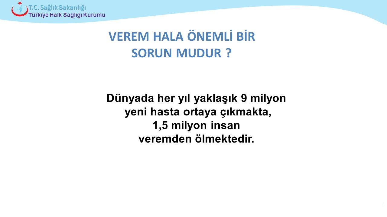 Çocuk ve Ergen Sağlığı Daire Başkanlığı Türkiye Halk Sağlığı Kurumu T.C. Sağlık Bakanlığı VEREM HALA ÖNEMLİ BİR SORUN MUDUR ? Dünyada her yıl yaklaşık