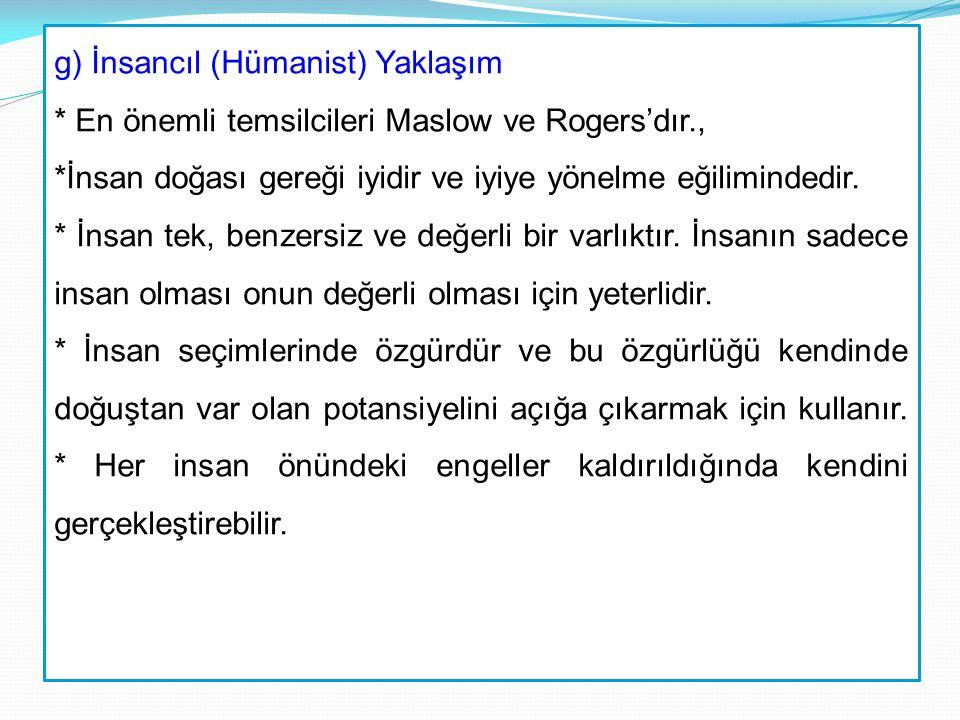 g) İnsancıl (Hümanist) Yaklaşım * En önemli temsilcileri Maslow ve Rogers'dır., *İnsan doğası gereği iyidir ve iyiye yönelme eğilimindedir. * İnsan te