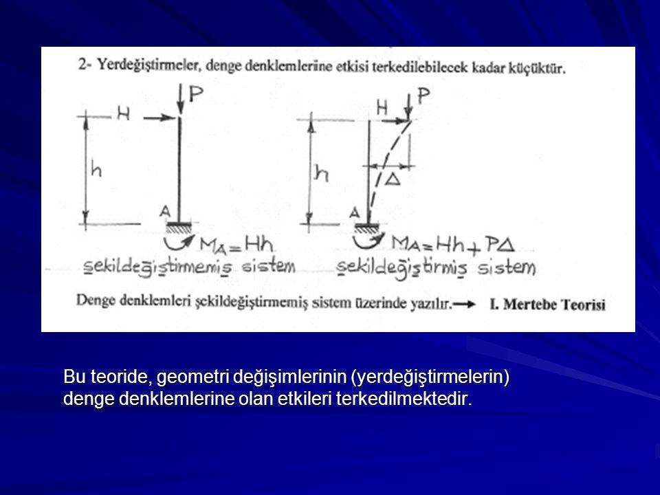 Bu teoride, geometri değişimlerinin (yerdeğiştirmelerin) Bu teoride, geometri değişimlerinin (yerdeğiştirmelerin) denge denklemlerine olan etkileri terkedilmektedir.