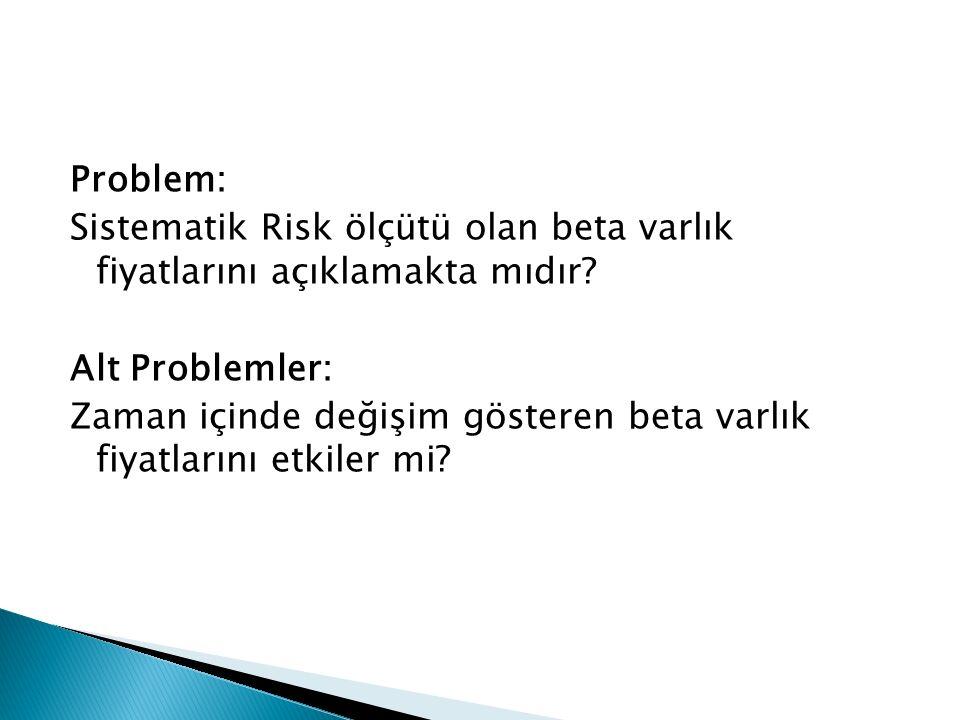 Problem: Sistematik Risk ölçütü olan beta varlık fiyatlarını açıklamakta mıdır.