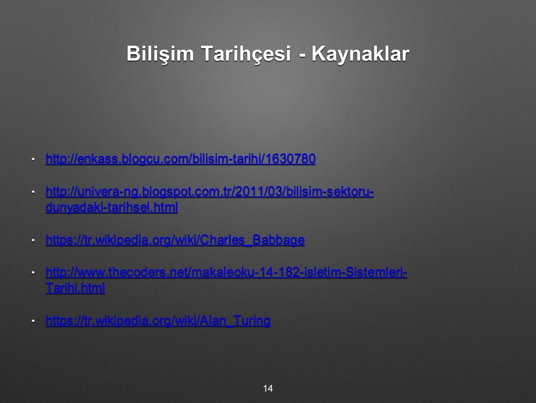 Bilişim Tarihçesi - Kaynaklar http://enkass.blogcu.com/bilisim-tarihi/1630780 http://enkass.blogcu.com/bilisim-tarihi/1630780 http://enkass.blogcu.com