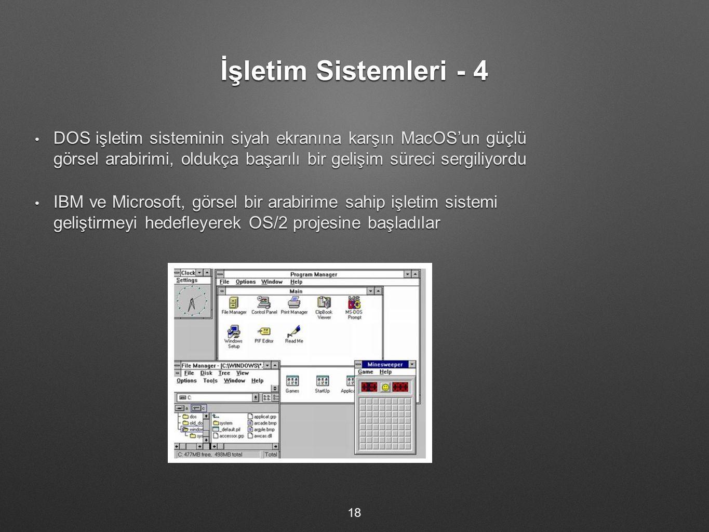 İşletim Sistemleri - 4 DOS işletim sisteminin siyah ekranına karşın MacOS'un güçlü görsel arabirimi, oldukça başarılı bir gelişim süreci sergiliyordu