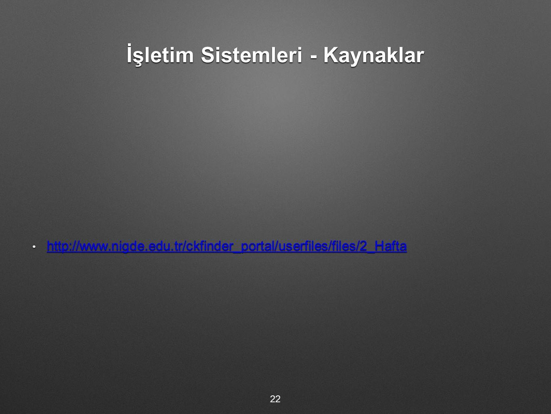 İşletim Sistemleri - Kaynaklar http://www.nigde.edu.tr/ckfinder_portal/userfiles/files/2_Hafta http://www.nigde.edu.tr/ckfinder_portal/userfiles/files/2_Hafta http://www.nigde.edu.tr/ckfinder_portal/userfiles/files/2_Hafta 22