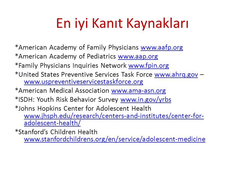 En iyi Kanıt Kaynakları *American Academy of Family Physicians www.aafp.orgwww.aafp.org *American Academy of Pediatrics www.aap.orgwww.aap.org *Family
