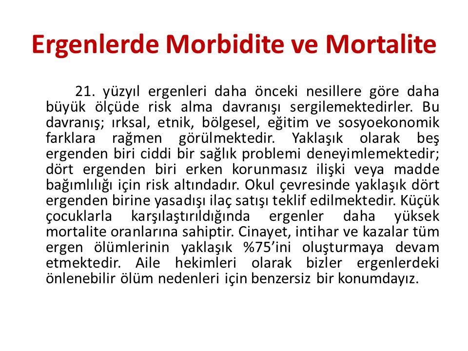 Ergenlerde Morbidite ve Mortalite 21. yüzyıl ergenleri daha önceki nesillere göre daha büyük ölçüde risk alma davranışı sergilemektedirler. Bu davranı