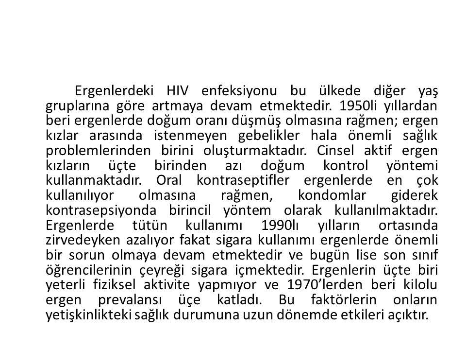 Ergenlerdeki HIV enfeksiyonu bu ülkede diğer yaş gruplarına göre artmaya devam etmektedir. 1950li yıllardan beri ergenlerde doğum oranı düşmüş olmasın