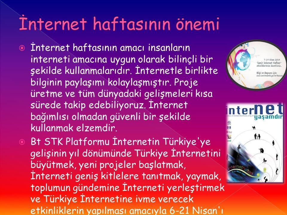  İnternet haftasının amacı insanların interneti amacına uygun olarak bilinçli bir şekilde kullanmalarıdır.