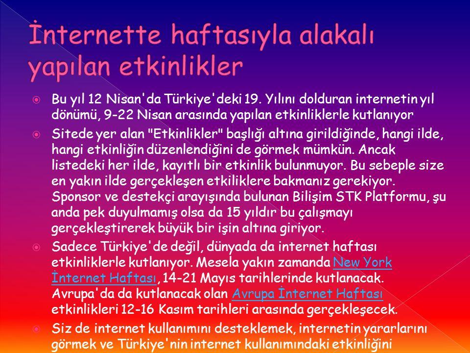  Bu yıl 12 Nisan da Türkiye deki 19.