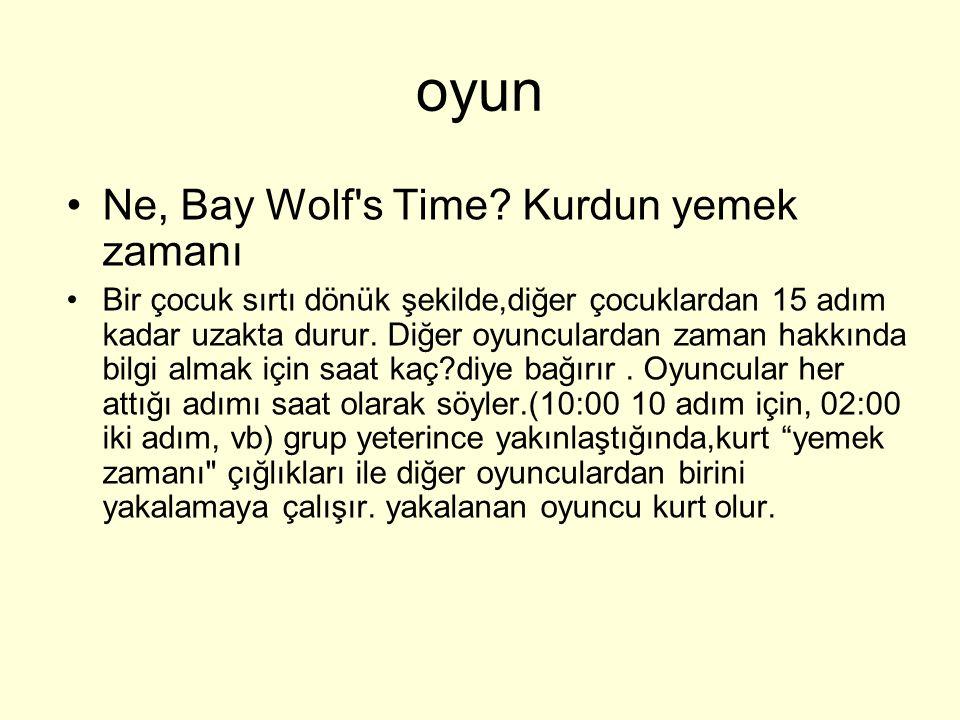 Ne, Bay Wolf's Time? Kurdun yemek zamanı Bir çocuk sırtı dönük şekilde,diğer çocuklardan 15 adım kadar uzakta durur. Diğer oyunculardan zaman hakkında