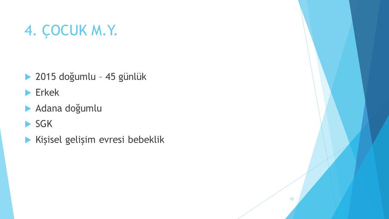 4. ÇOCUK M.Y.  2015 doğumlu – 45 günlük  Erkek  Adana doğumlu  SGK  Kişisel gelişim evresi bebeklik 10