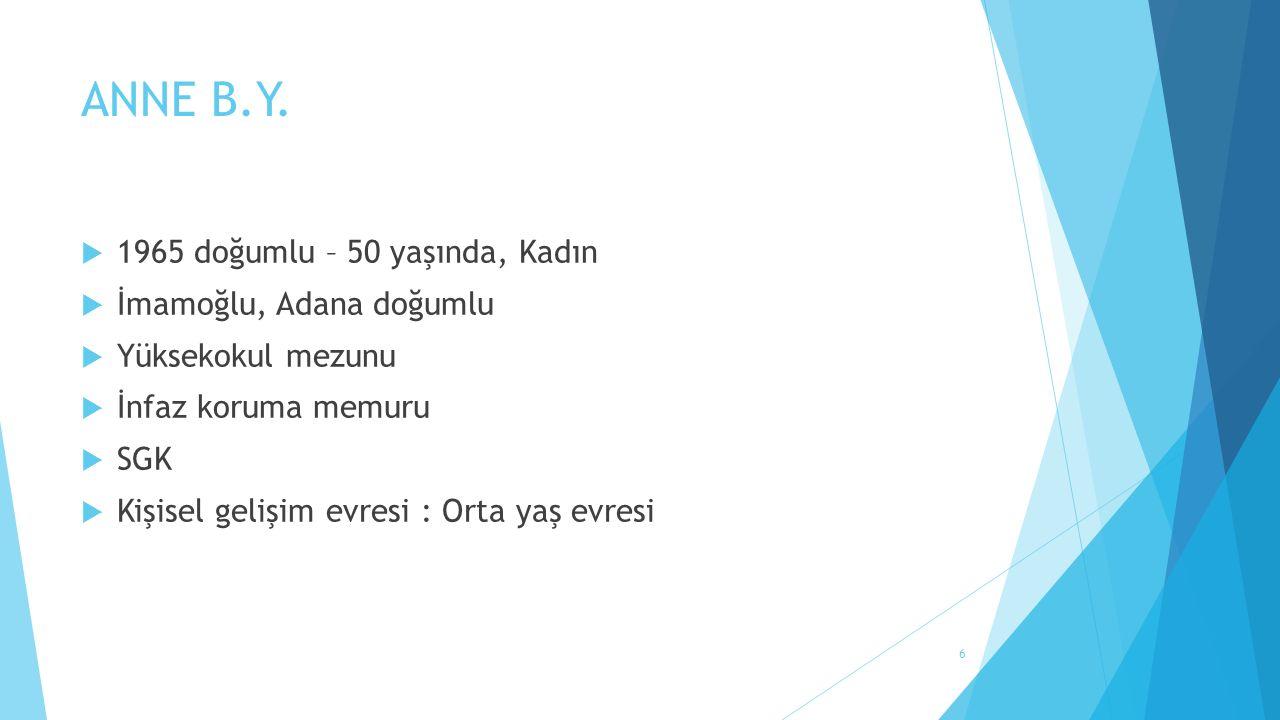 ANNE B.Y.  1965 doğumlu – 50 yaşında, Kadın  İmamoğlu, Adana doğumlu  Yüksekokul mezunu  İnfaz koruma memuru  SGK  Kişisel gelişim evresi : Orta