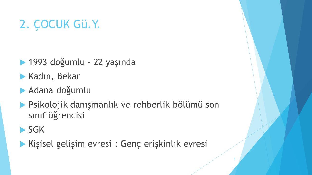 2. ÇOCUK Gü.Y.  1993 doğumlu – 22 yaşında  Kadın, Bekar  Adana doğumlu  Psikolojik danışmanlık ve rehberlik bölümü son sınıf öğrencisi  SGK  Kiş