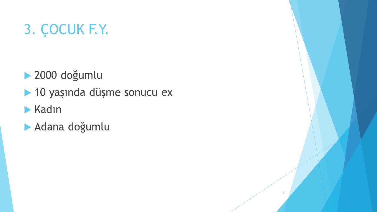 3. ÇOCUK F.Y.  2000 doğumlu  10 yaşında düşme sonucu ex  Kadın  Adana doğumlu 9