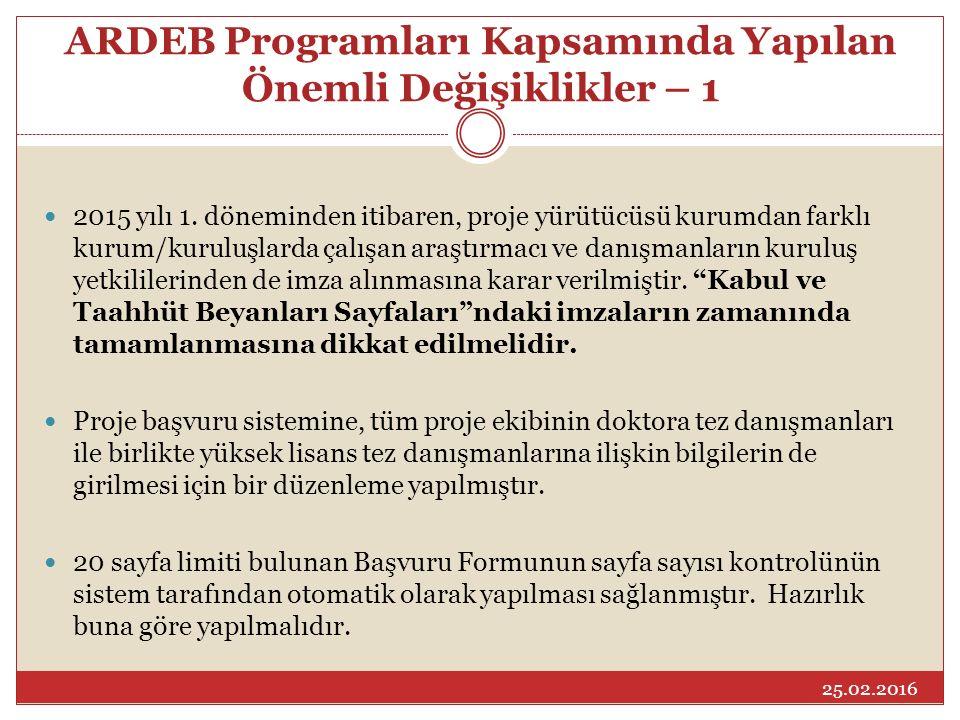 ARDEB Programları Kapsamında Yapılan Önemli Değişiklikler – 1 2015 yılı 1. döneminden itibaren, proje yürütücüsü kurumdan farklı kurum/kuruluşlarda ça