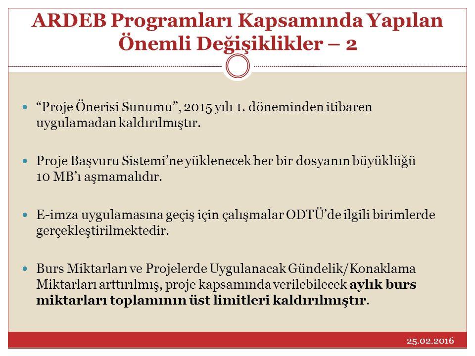 """ARDEB Programları Kapsamında Yapılan Önemli Değişiklikler – 2 """"Proje Önerisi Sunumu"""", 2015 yılı 1. döneminden itibaren uygulamadan kaldırılmıştır. Pro"""
