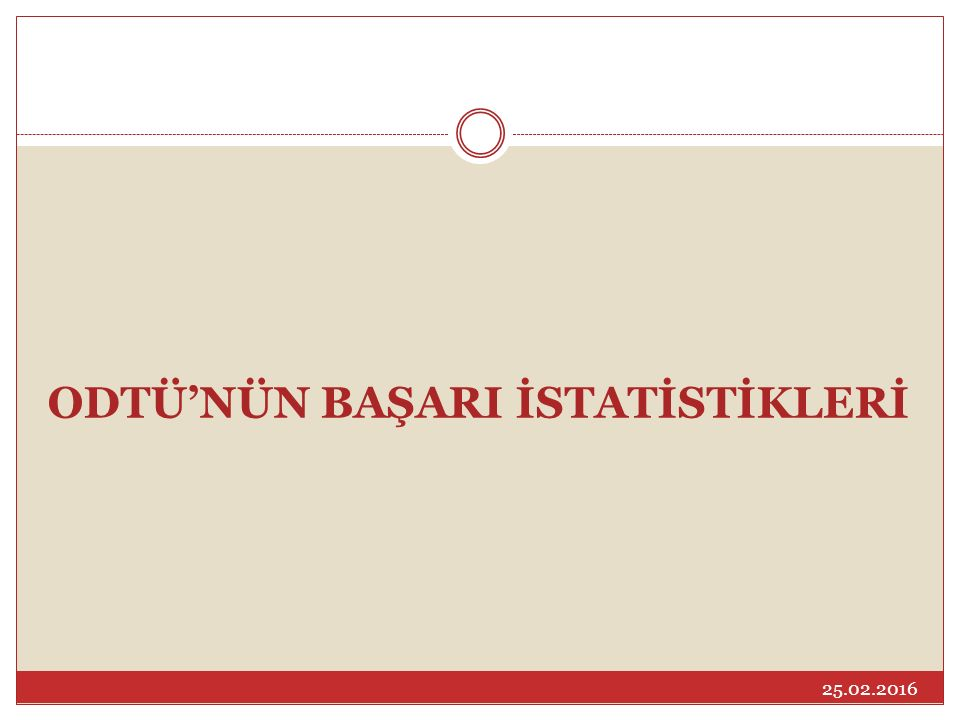 ODTÜ'NÜN BAŞARI İSTATİSTİKLERİ 25.02.2016