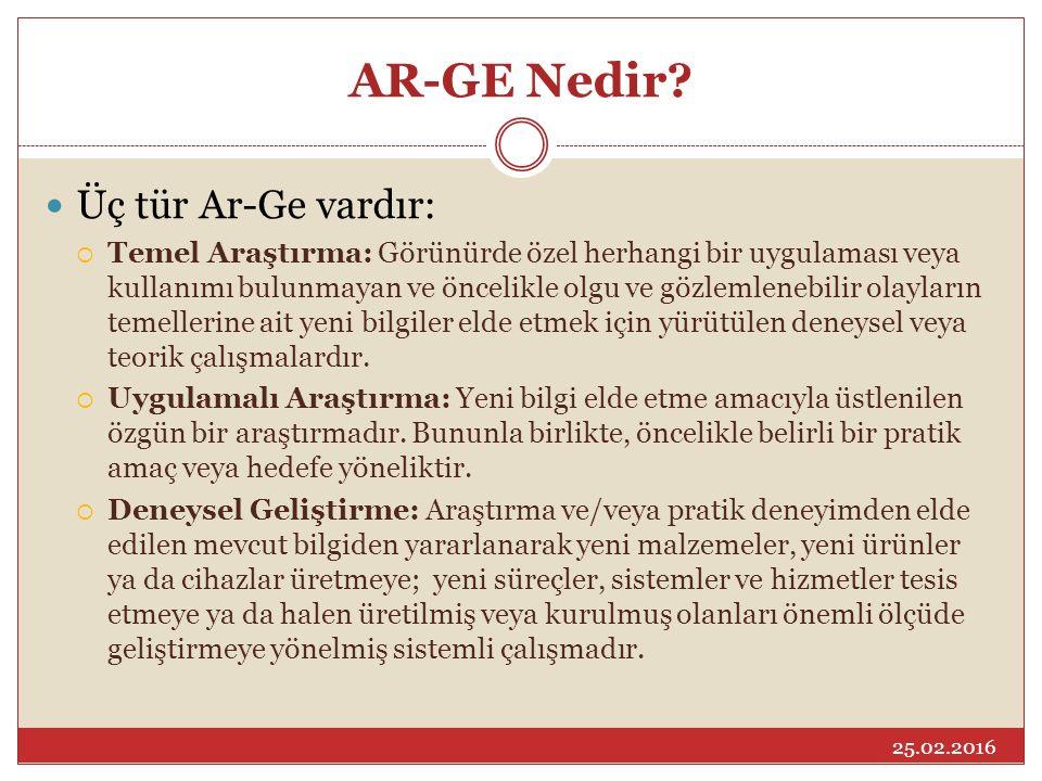 AR-GE Nedir? Üç tür Ar-Ge vardır:  Temel Araştırma: Görünürde özel herhangi bir uygulaması veya kullanımı bulunmayan ve öncelikle olgu ve gözlemleneb