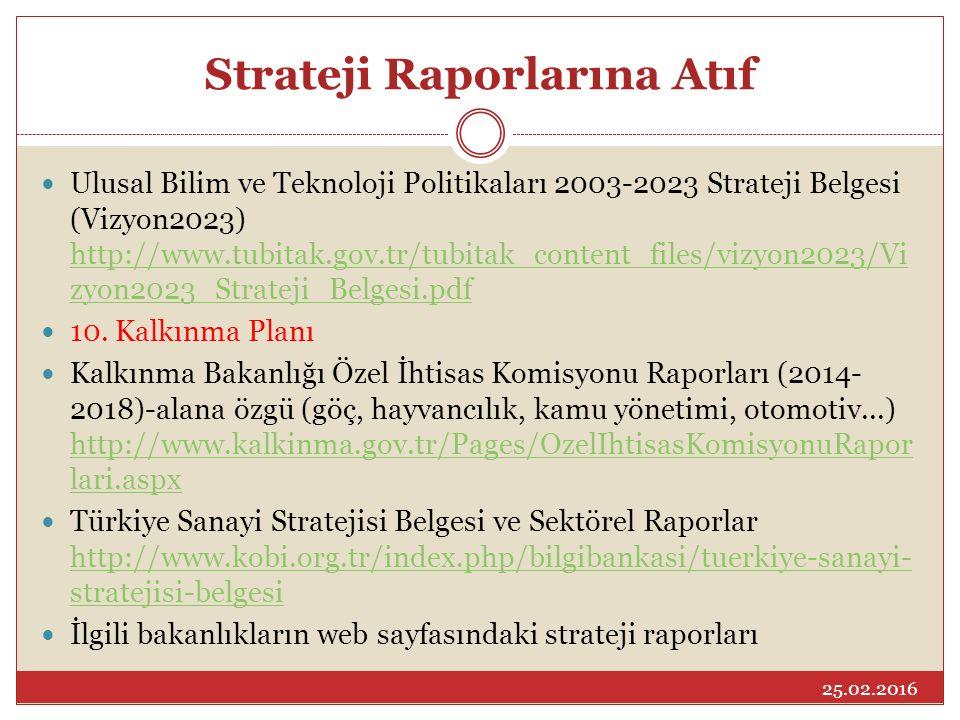 Strateji Raporlarına Atıf Ulusal Bilim ve Teknoloji Politikaları 2003-2023 Strateji Belgesi (Vizyon2023) http://www.tubitak.gov.tr/tubitak_content_files/vizyon2023/Vi zyon2023_Strateji_Belgesi.pdf http://www.tubitak.gov.tr/tubitak_content_files/vizyon2023/Vi zyon2023_Strateji_Belgesi.pdf 10.