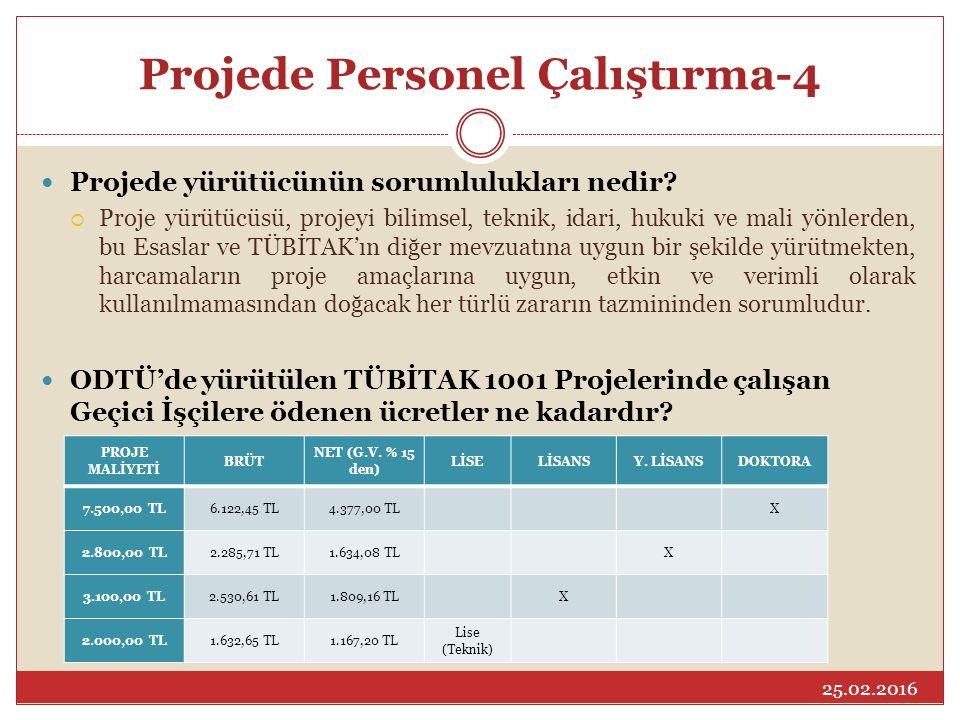 Projede Personel Çalıştırma-4 Projede yürütücünün sorumlulukları nedir?  Proje yürütücüsü, projeyi bilimsel, teknik, idari, hukuki ve mali yönlerden,