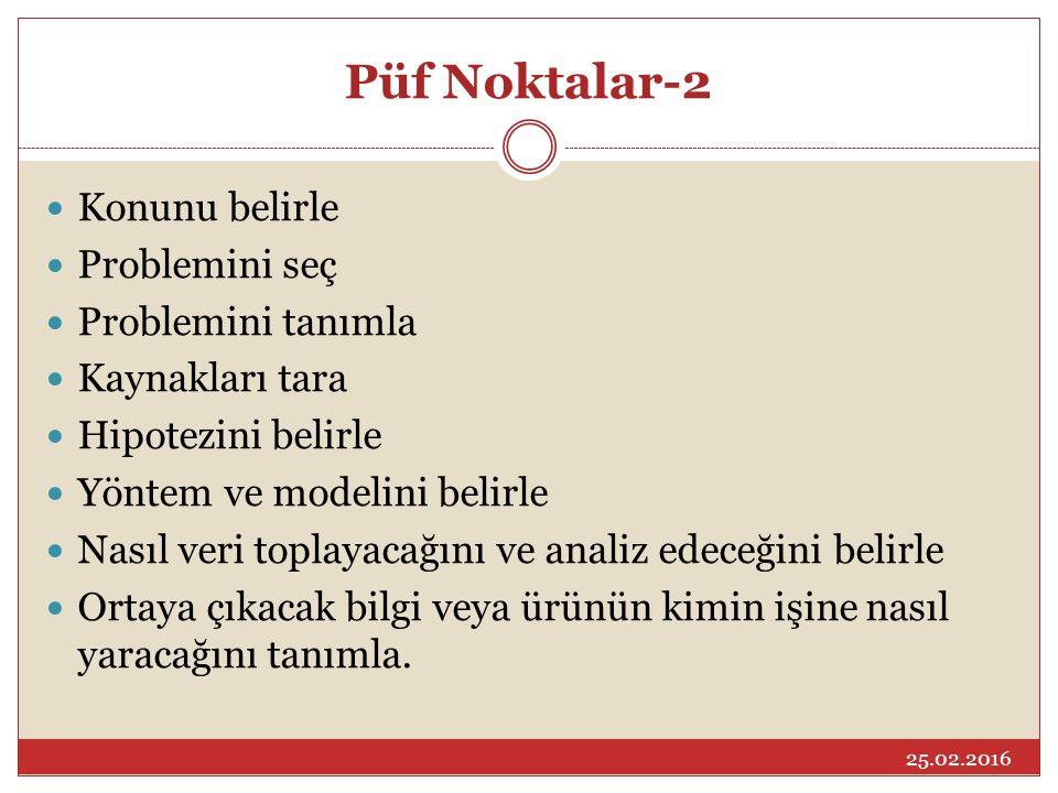 Püf Noktalar-2 Konunu belirle Problemini seç Problemini tanımla Kaynakları tara Hipotezini belirle Yöntem ve modelini belirle Nasıl veri toplayacağını