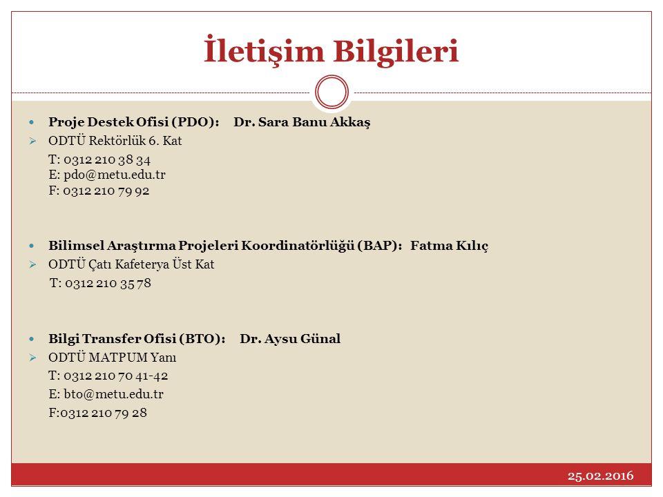 İletişim Bilgileri Proje Destek Ofisi (PDO): Dr.Sara Banu Akkaş  ODTÜ Rektörlük 6.