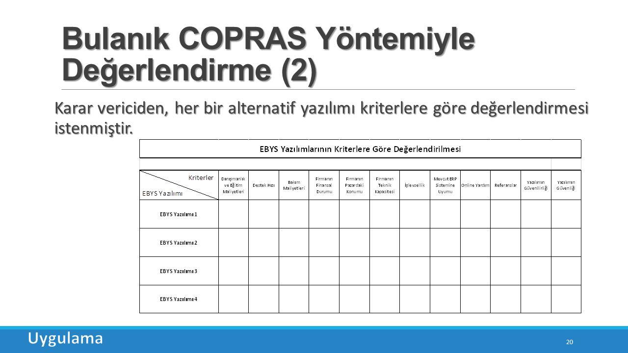 Bulanık COPRAS Yöntemiyle Değerlendirme (2) 20 Karar vericiden, her bir alternatif yazılımı kriterlere göre değerlendirmesi istenmiştir.