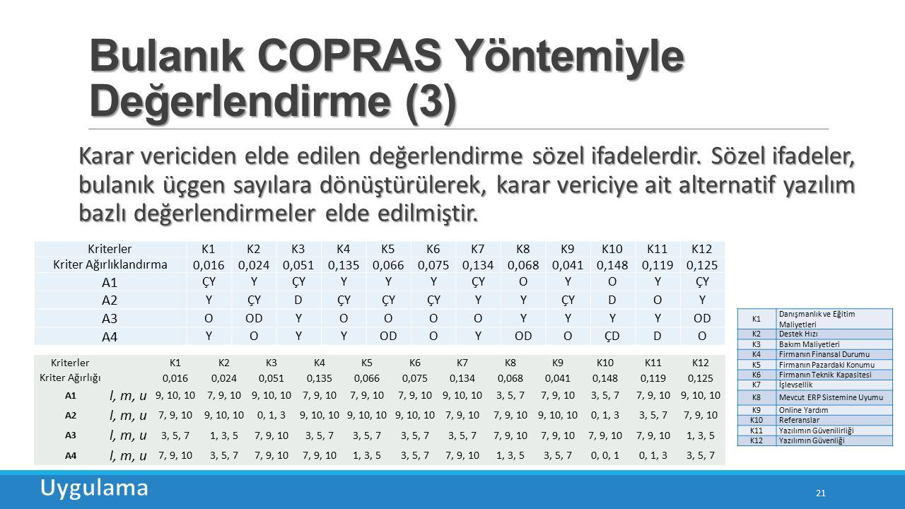 Bulanık COPRAS Yöntemiyle Değerlendirme (3) 21 Karar vericiden elde edilen değerlendirme sözel ifadelerdir.