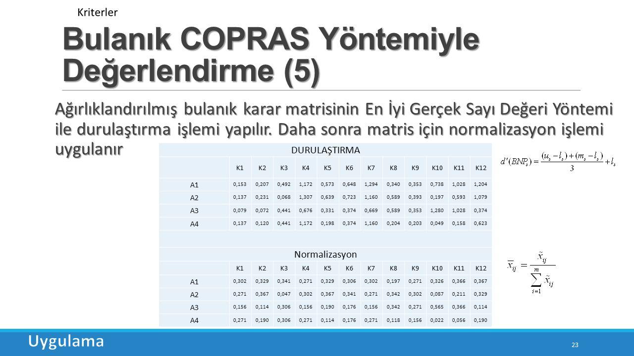 Bulanık COPRAS Yöntemiyle Değerlendirme (5) 23 Ağırlıklandırılmış bulanık karar matrisinin En İyi Gerçek Sayı Değeri Yöntemi ile durulaştırma işlemi yapılır.
