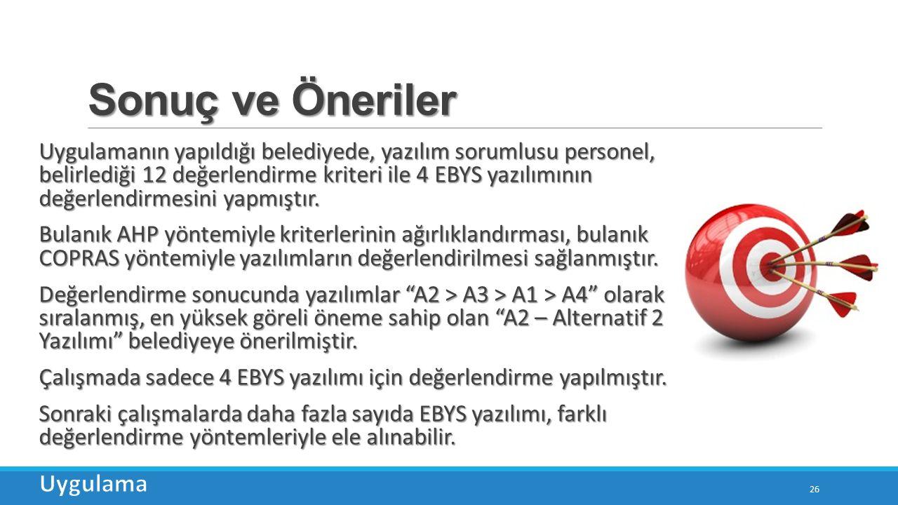 Sonuç ve Öneriler 26 Uygulamanın yapıldığı belediyede, yazılım sorumlusu personel, belirlediği 12 değerlendirme kriteri ile 4 EBYS yazılımının değerlendirmesini yapmıştır.