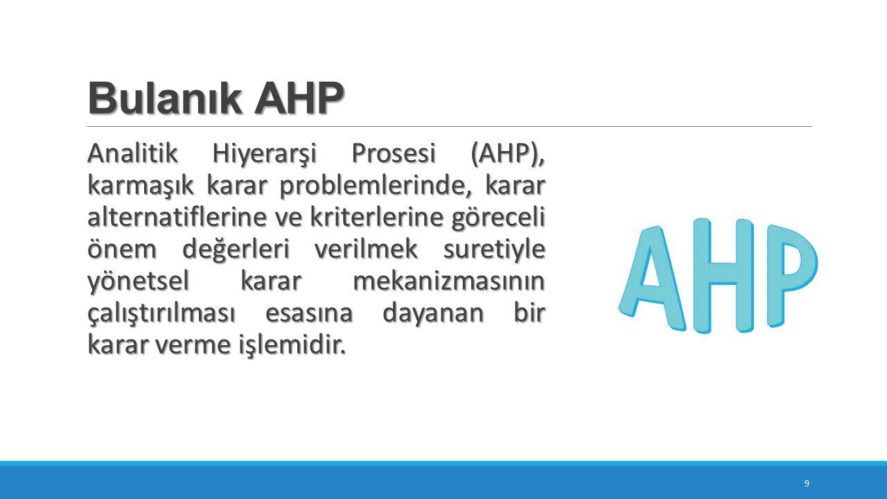 Bulanık AHP 9 Analitik Hiyerarşi Prosesi (AHP), karmaşık karar problemlerinde, karar alternatiflerine ve kriterlerine göreceli önem değerleri verilmek suretiyle yönetsel karar mekanizmasının çalıştırılması esasına dayanan bir karar verme işlemidir.