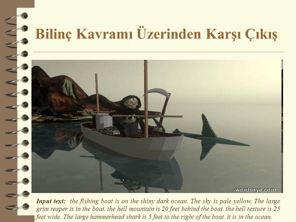 Bilinç Kavramı Üzerinden Karşı Çıkış Input text: the fishing boat is on the shiny dark ocean. The sky is pale yellow. The large grim reaper is in the