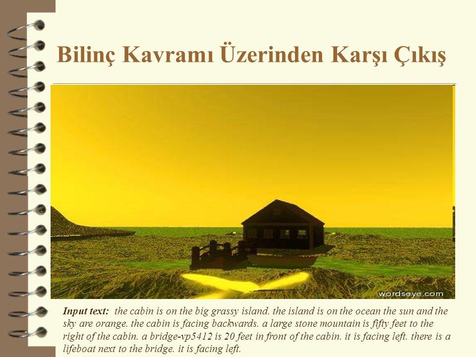 Bilinç Kavramı Üzerinden Karşı Çıkış Input text: the cabin is on the big grassy island. the island is on the ocean the sun and the sky are orange. the