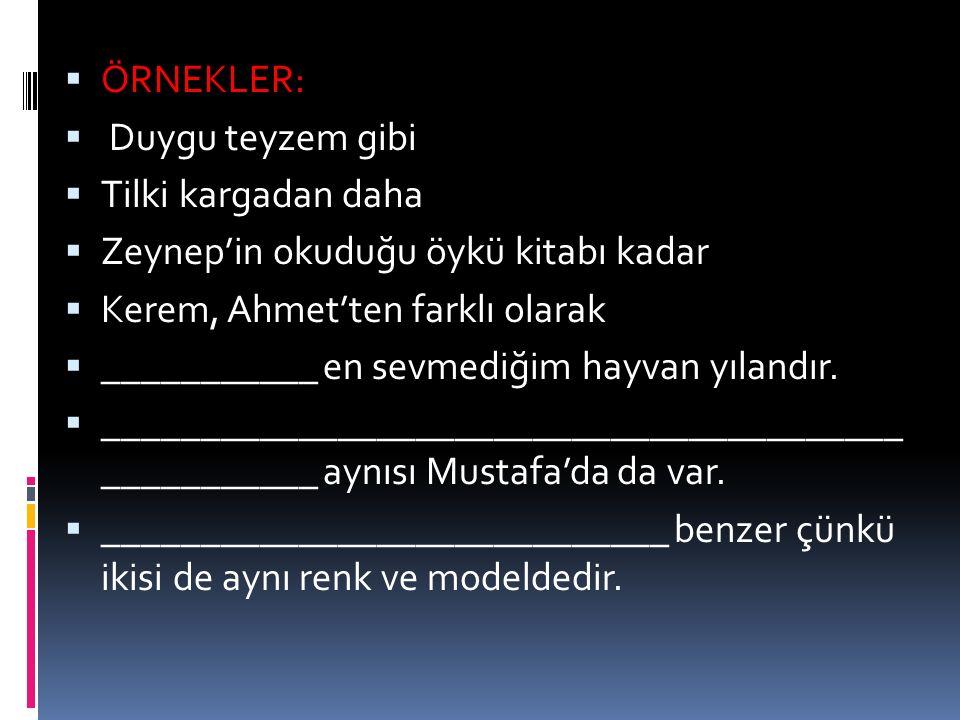  ÖRNEKLER:  Duygu teyzem gibi  Tilki kargadan daha  Zeynep'in okuduğu öykü kitabı kadar  Kerem, Ahmet'ten farklı olarak  ___________ en sevmediğ