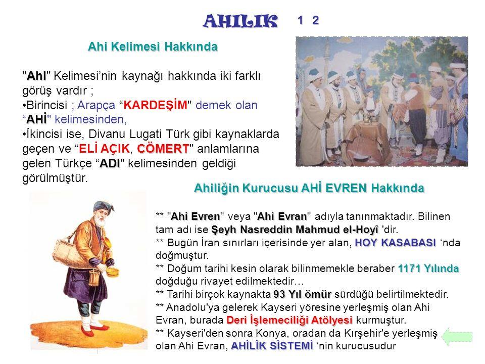 AHILIK Ahi Kelimesi Hakkında Ahi