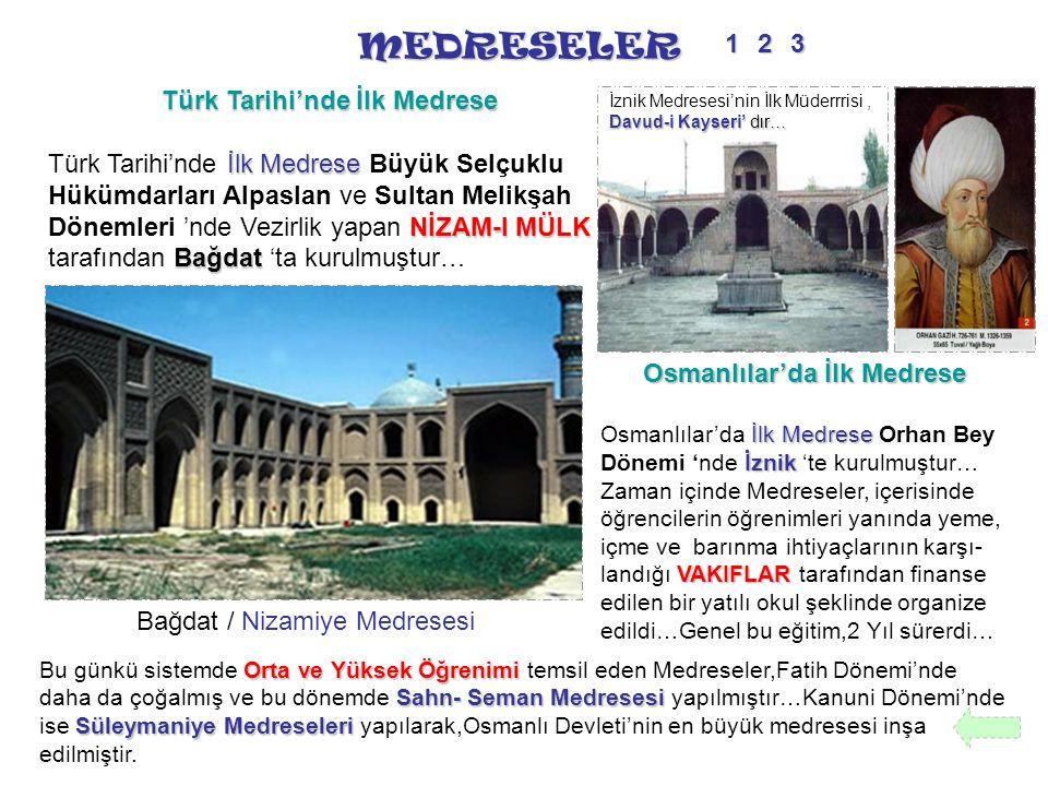 MEDRESELER Türk Tarihi'nde İlk Medrese İlk Medrese NİZAM-I MÜLK Bağdat Türk Tarihi'nde İlk Medrese Büyük Selçuklu Hükümdarları Alpaslan ve Sultan Meli