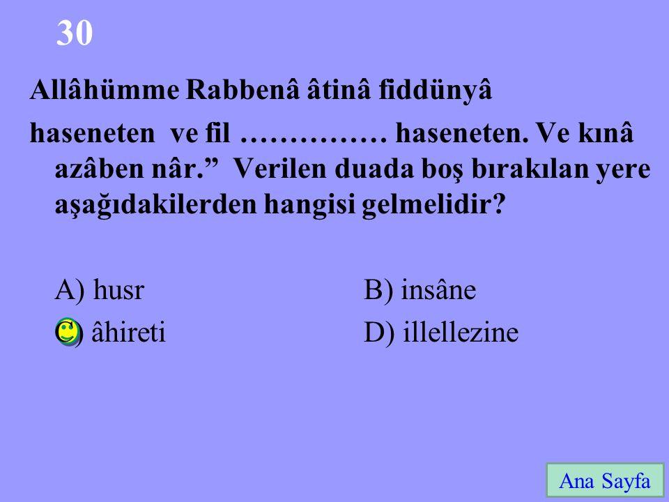30 Ana Sayfa Allâhümme Rabbenâ âtinâ fiddünyâ haseneten ve fil …………… haseneten.