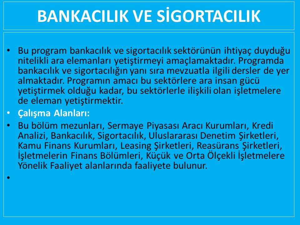 BANKACILIK VE SİGORTACILIK Bu program bankacılık ve sigortacılık sektörünün ihtiyaç duyduğu nitelikli ara elemanları yetiştirmeyi amaçlamaktadır.