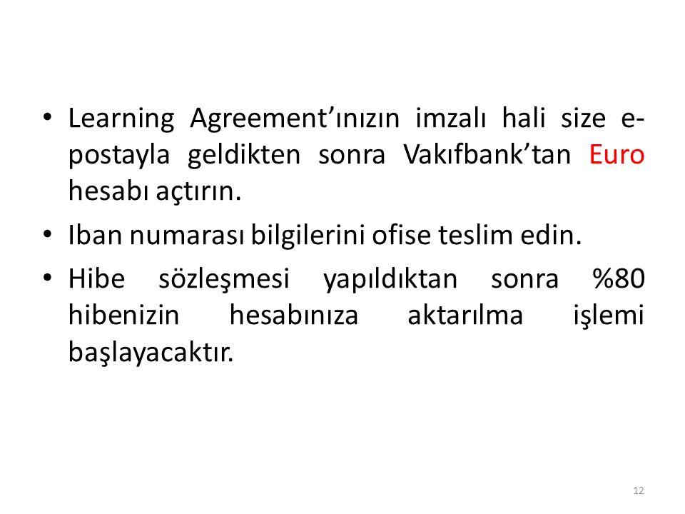 Learning Agreement'ınızın imzalı hali size e- postayla geldikten sonra Vakıfbank'tan Euro hesabı açtırın. Iban numarası bilgilerini ofise teslim edin.