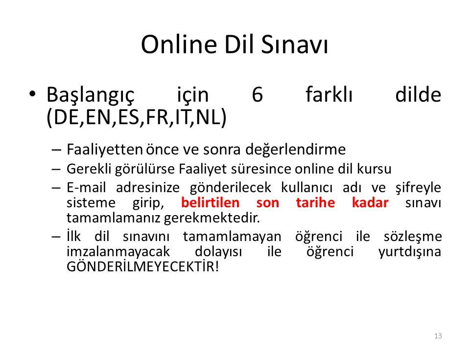 Online Dil Sınavı Başlangıç için 6 farklı dilde (DE,EN,ES,FR,IT,NL) – Faaliyetten önce ve sonra değerlendirme – Gerekli görülürse Faaliyet süresince o