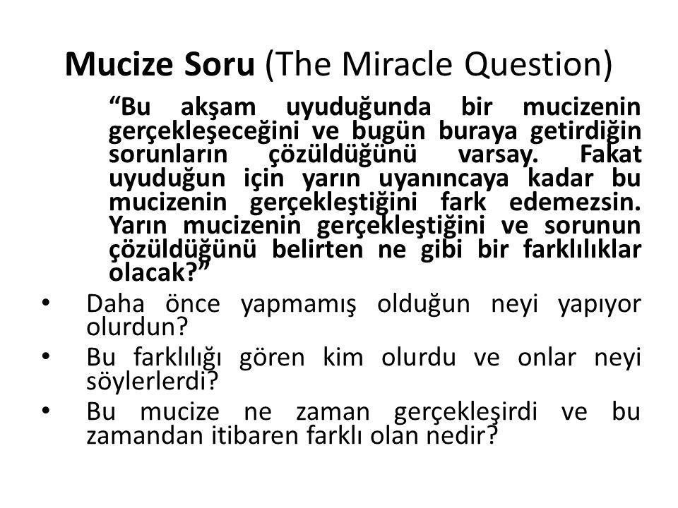 """Mucize Soru (The Miracle Question) """"Bu akşam uyuduğunda bir mucizenin gerçekleşeceğini ve bugün buraya getirdiğin sorunların çözüldüğünü varsay. Fakat"""