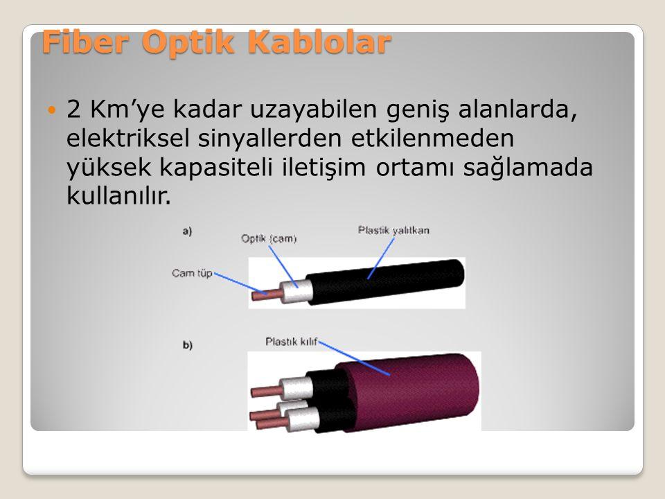 Fiber Optik Kablolar 2 Km'ye kadar uzayabilen geniş alanlarda, elektriksel sinyallerden etkilenmeden yüksek kapasiteli iletişim ortamı sağlamada kulla