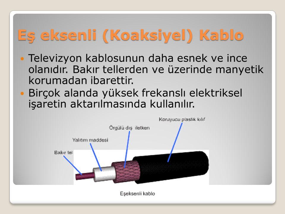 Eş eksenli (Koaksiyel) Kablo Televizyon kablosunun daha esnek ve ince olanıdır. Bakır tellerden ve üzerinde manyetik korumadan ibarettir. Birçok aland
