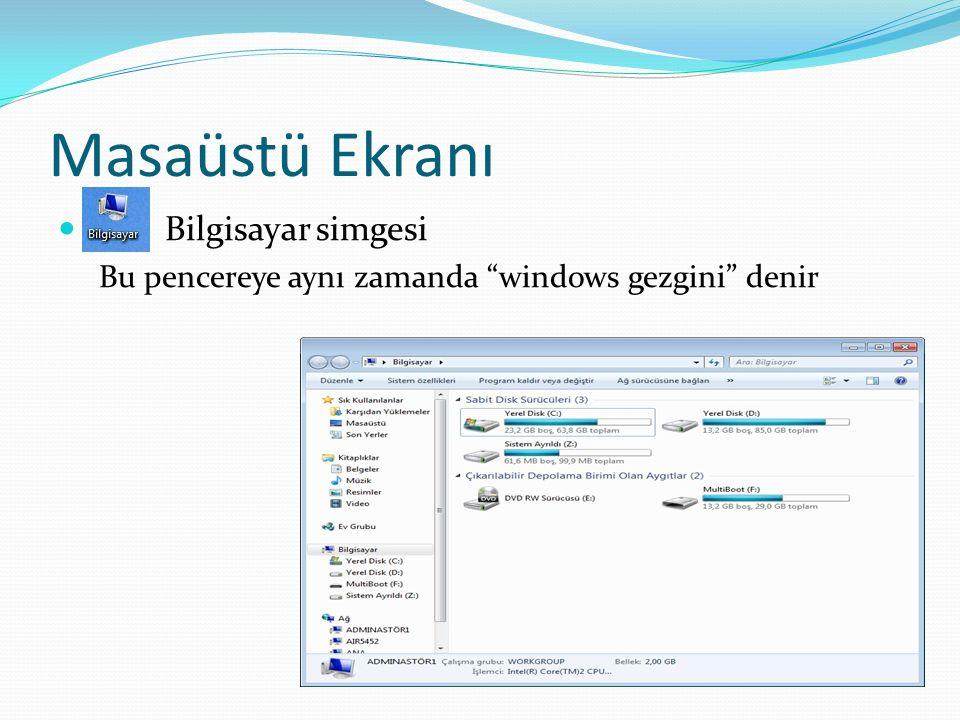 """Masaüstü Ekranı Bilgisayar simgesi Bu pencereye aynı zamanda """"windows gezgini"""" denir"""