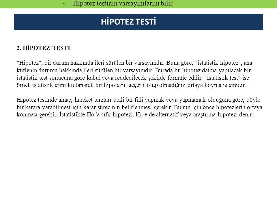 2.HİPOTEZ TESTİ Hipotez , bir durum hakkında ileri sürülen bir varsayımdır.