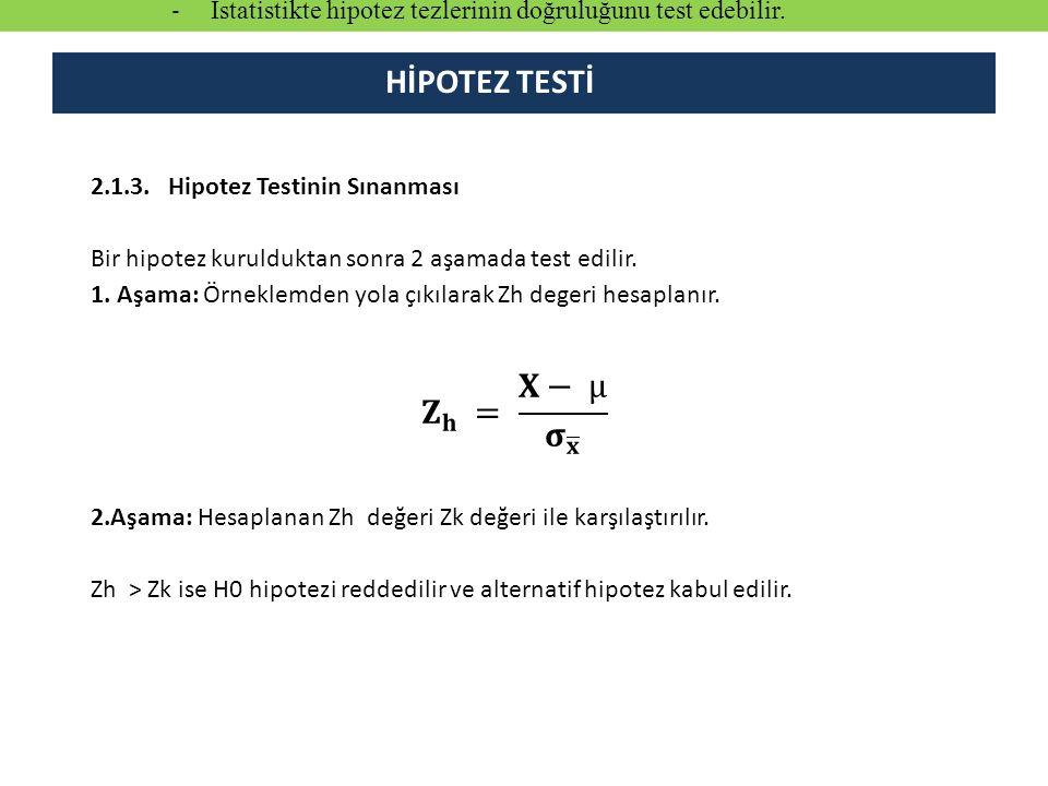 HİPOTEZ TESTİ - İstatistikte hipotez tezlerinin doğruluğunu test edebilir.